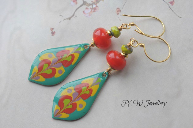 Painted Dangle Copper Earrings