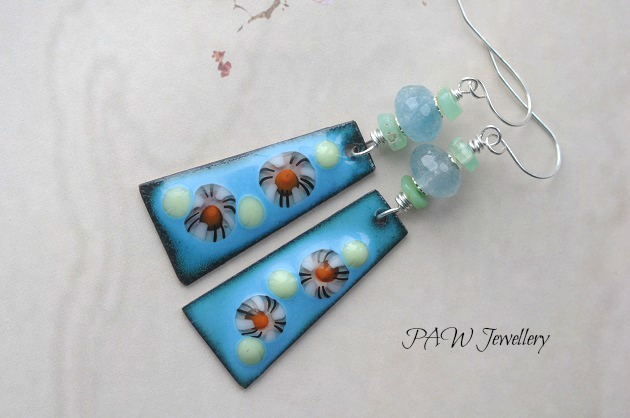 Enamel and Glass Dangle Earrings