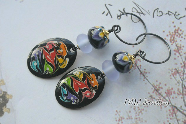 Lampwork Glass Earrings with Hand Painted Charms