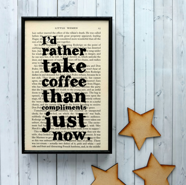 Little Women 'Coffee' quote on Vintage Book Page Framed Art