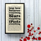 Charles Dickens Romantic Quote on framed vintage book page - true love