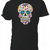 Sugar Skull T shirt. Round neck short sleeved choice of size & Cols