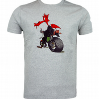Welsh Biker Dragon T shirt. Round neck short sleeved choice of size & Cols
