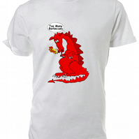 Fat Welsh Dragon T shirt. Round neck short sleeved choice of size & Cols
