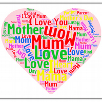 Mother Word Cloud Mouse mat, Mousepad, Mother's Day, Birthday