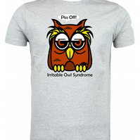 Irritable Owl Syndrome Fun Owl T shirt, choice of cols & sizes