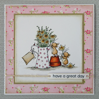 Handmade card with flower arranging mice