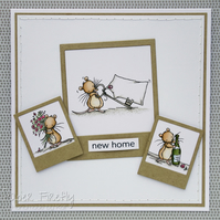 Handmade new home card with cute mice (customisable wording)