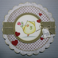Handmade romantic chick with rose card