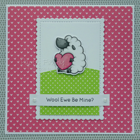Handmade humorous sheep card for Valentine's Day