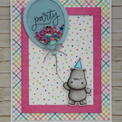 Unique handmade card - cute party hippo with shaker balloon