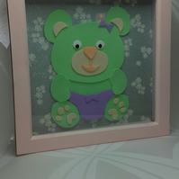 3D Bear picture in box frame