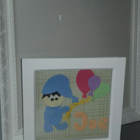 3D Boy picture in  a box frame