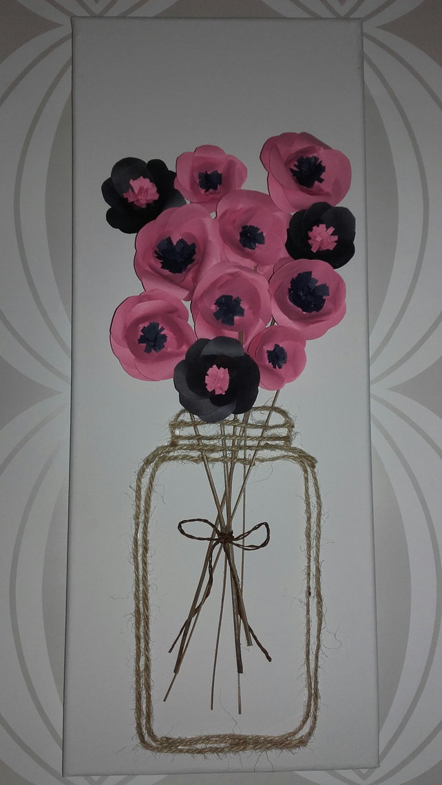 Paper flowers canvas picture