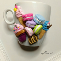 Polymer clay sweets decorated mug