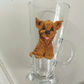 Polymer clay Yorkshire terrier decorated glass