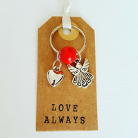 Angel and Heart Keyring