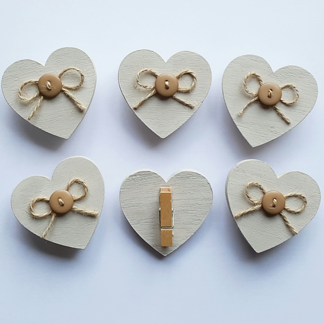 Wooden Heart Clips