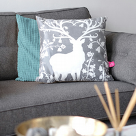 Woodland Stag Grey Cushion