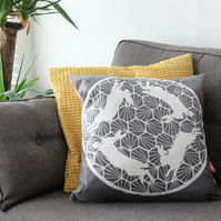 Geometric Hares Grey Cushion
