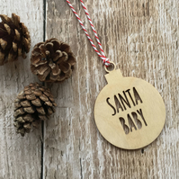 Wooden 'Santa Baby' Bauble