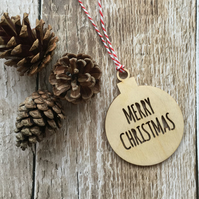 Wooden 'Merry Christmas ' Bauble