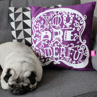 "Purple ""You Are Wonderful"" Cushion"