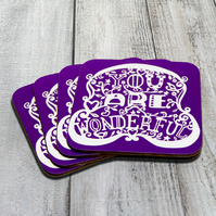 "Purple ""You Are Wonderful"" Pack Of 4 Coasters"