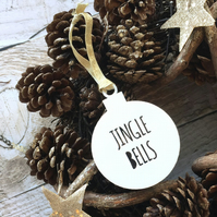 White Acrylic 'Jingle Bells' Bauble