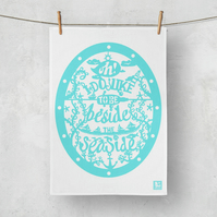 Beside the Seaside Turquoise Teatowel