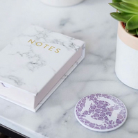 Geometric Hares Purple Pocket Mirror