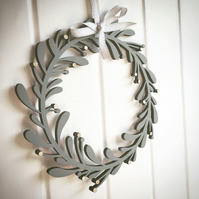 Wooden Hand-Painted Mistletoe Wreath