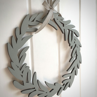 Wooden Hand-Painted Bay Wreath