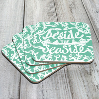 "Sea Green ""Beside The Seaside"" Pack Of 4 Coasters"