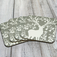 "Khaki Grey ""Stag in Woodland"" Pack Of 4 Coasters"