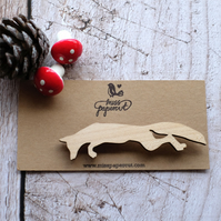 Solid wood leaping fox brooch