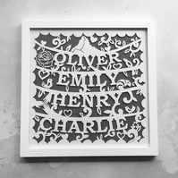 Bespoke 'family tree' papercut