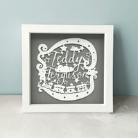 Boy Name Hand Cut Framed Papercut