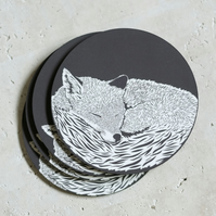 Sleeping Fox Pack of 4 Coasters