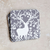 Grey Stag in Bluebell Woods Pack of 4 Coasters