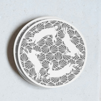Grey Geometric Hares Pack of 4 Coasters