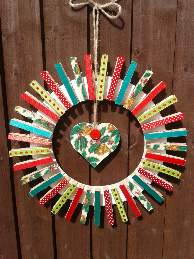 Christmas Card Peg Wreath Folksy