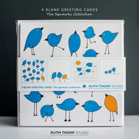 The Squawks Greeting Cards pack of 4 blank illustrated bird cards