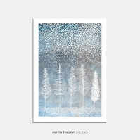 Winter Trees Illustrated Art Print