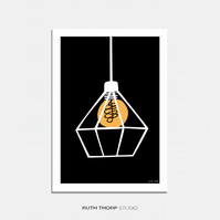 Cage Light Illustrated Art Print