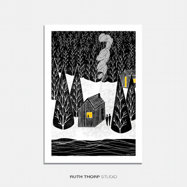 Cabin Illustrated Art Print