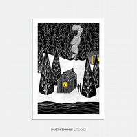 Cabin - A3 Illustrated Art Print