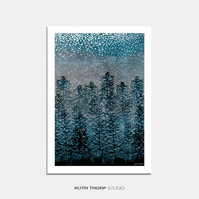 Winter Forest Illustrated Art Print