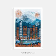Stereo City Illustrated Art Print