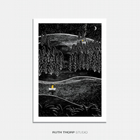 Catching Stars Illustrated Art Print